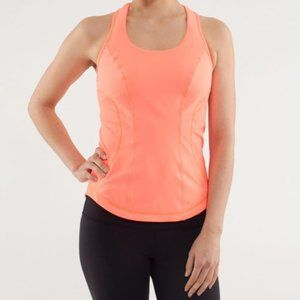 Lululemon Cardio Kick Tank Top Orange Neon Sz 6